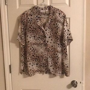 Alfred Dunner Leopard Print Sheer Blouse